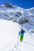 Skiing, Skier, Freeride - Man with skis climbs to the top — Stock Photo