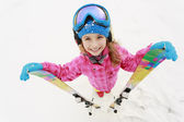 Skiing, skier, winter sports - portrait of happy young skier — Stock Photo