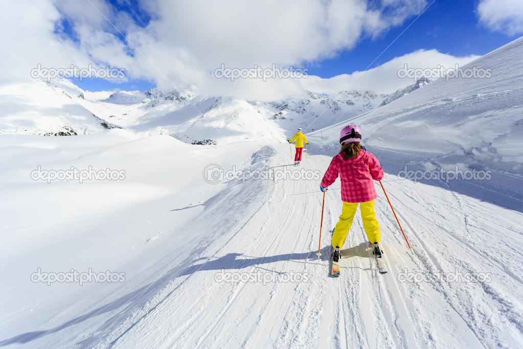 skiing winter ski lesson skiers on ski run stock photo gorilla 31308343. Black Bedroom Furniture Sets. Home Design Ideas
