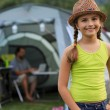 Summer in the tent - young girl with family on the camping — Stock Photo