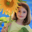 Girl and sunflower - beautiful girl and sunflower — Stock Photo