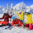 Skiing, winter, snow, skiers - family enjoying winter — Stock Photo