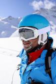 Skier, skiing, winter sport - portrait of skier — Stock Photo