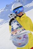 Skier, skiing, winter sport - portrait of female skier — Foto de Stock