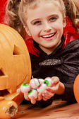 Halloween - child in Halloween costume has a fun at Halloween party — Stockfoto