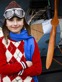 Aviator, happy girl ready to fly. — Stock Photo