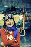 Flying, aviator ready to travel with plane — Stock Photo