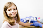 Allergy - skin prick tests, cute girl in a laboratory — Stock Photo
