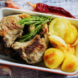 Lamb Chops - grilled lamb chops with grilled potatoes — Stock Photo #46707633