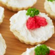 Caviar - appetizer, tartlets with red caviar — Stock Photo