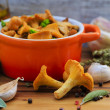 Chanterelle mushrooms cooked in a pan — Stock Photo #46708975