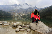 Hiking - family on mountain trek — Stock Photo