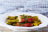 Asparagus - delicacies, gourmet meal - Grilled young asparagus — Stock Photo