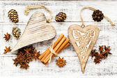 Christmas spices and decoration - nuts, anise stars with cinnamo — Stockfoto