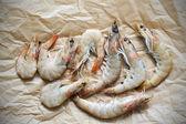 Shrimp - raw fresh prawns prepared for cooking — Stock Photo