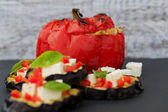 Peppers stuffed with rice and meat — Stock Photo