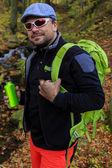 Autumn trek - man on mountain hike — Stock Photo