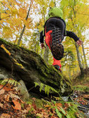 Autumn trek - man on mountain hike — Foto Stock