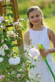 Summer garden, watering - beautiful  girl watering roses — Stok fotoğraf