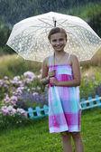 Summer rain - happy girl with an umbrella in the rain — Stock Photo