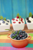 Summer delights - seasonal fruits with yogurt — Stock Photo