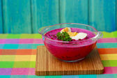 Chilled  soup - traditional seasonal polish  beetroot soup — Stock Photo