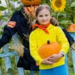 Scarecrow and happy girl  in the garden - Autumn harvests — Stock Photo #46827909