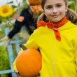 Scarecrow and happy girl  in the garden - Autumn harvests — Stock Photo #46827959