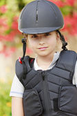Equestrian girl on ranch ready to horseriding — Stock Photo