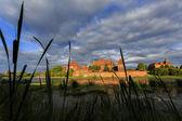 Malbork Castle in Poland, view to Malbork Castle across lake — Stock Photo