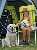 Summer camp - young girl playing with dogs on the camping — Foto de Stock