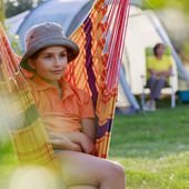 Summer in the tent - family on the camping — Stock Photo