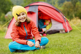 Camp in the tent - family with tent on the camping — Stock Photo