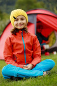 Camp in the tent - family on the camping — Stock Photo
