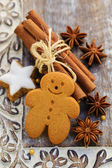 Christmas Spices, Gingerbread man - Christmas cookies  — Stock Photo