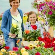 Planting, garden flowers - family shopping plants and flowers in garden center — Stock Photo #47079065