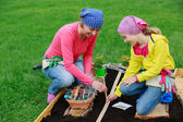 Gardening - sowing seeds to the soil — Stock Photo