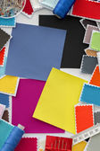 Design, fashion - A fabric samples and tailor's accessories — Stock Photo