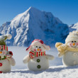 Winter, snow, sun and fun - happy snowman friends — Stock Photo #47436281
