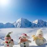 Winter, snow, sun and fun - happy snowman friends — Stock Photo