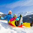 Winter fun, snow, family sledding at winter time — Stockfoto #47436719
