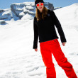 Snowboarder, winter sports - portrait of young snowboarder girl — Stock Photo #47437653