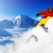 Skiing, Skier, Freeride in fresh powder snow — Stock Photo