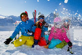 Skiing, winter, snow, skiers, sun and fun — Stock Photo