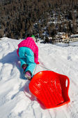 Winter fun, snow, sledding at winter time — Stock Photo