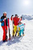 Ski, snow and winter fun - happy family ski team — Stock Photo