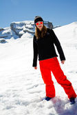 Snowboarder, winter sports - portrait of young snowboarder girl — Stock Photo