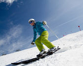 Skiing - woman skiing downhill — Stock Photo