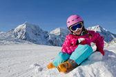 Esquiador, chico, invierno, nieve y sol — Foto de Stock