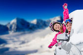 Winter, ski - happy family on the road for ski holidays — Stock Photo